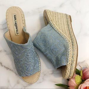 Karl Lagerfeld Carina chambray embroidered wedges